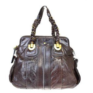 Auth CHLOE Elois Tote Hand Bag Leather Brown Gold